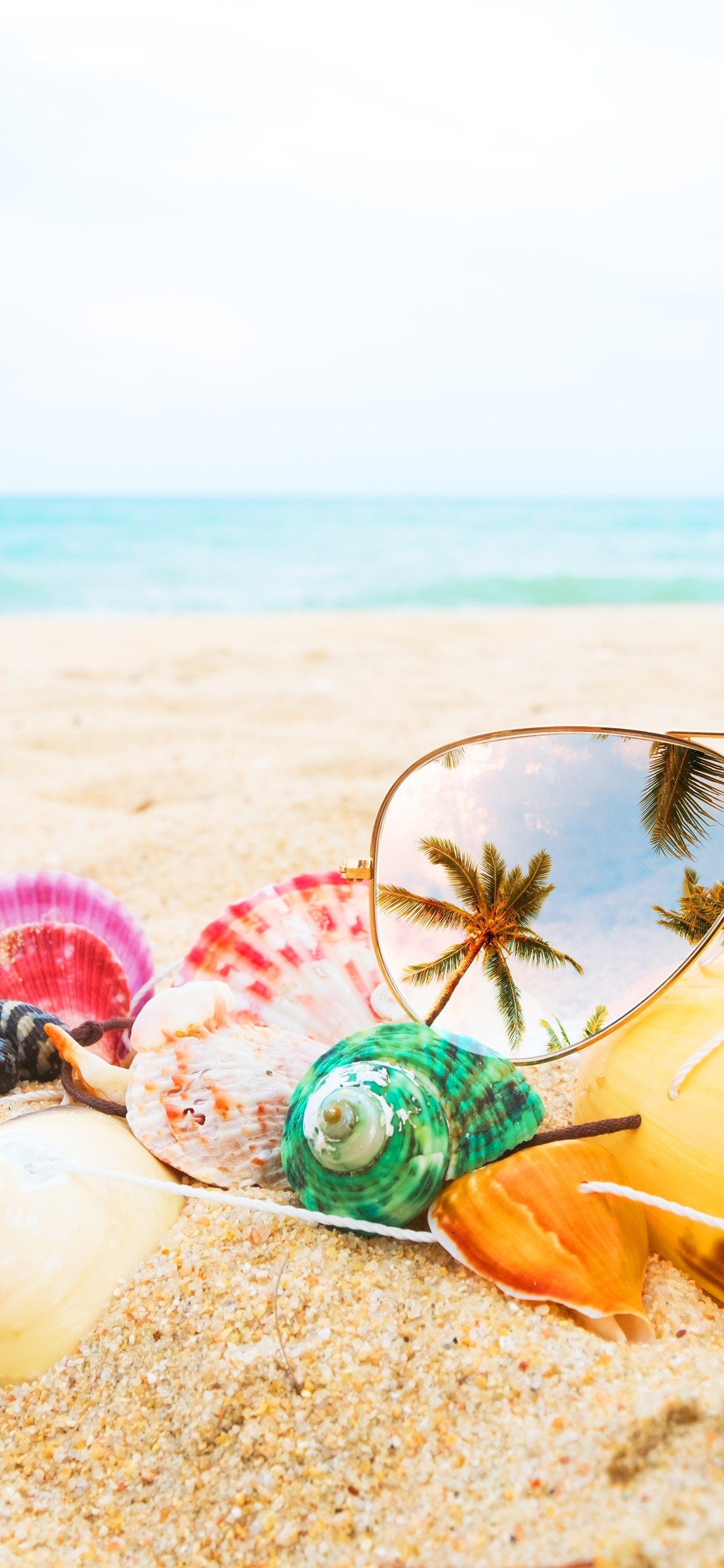 Sunglass Seashell Beach Sea 1242x2688 Iphone Xs Max Wallpaper
