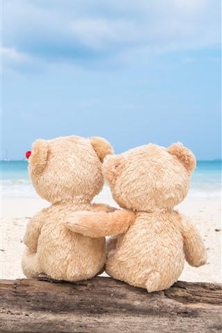 iPhone Wallpaper Teddy bear, back view, beach, sea