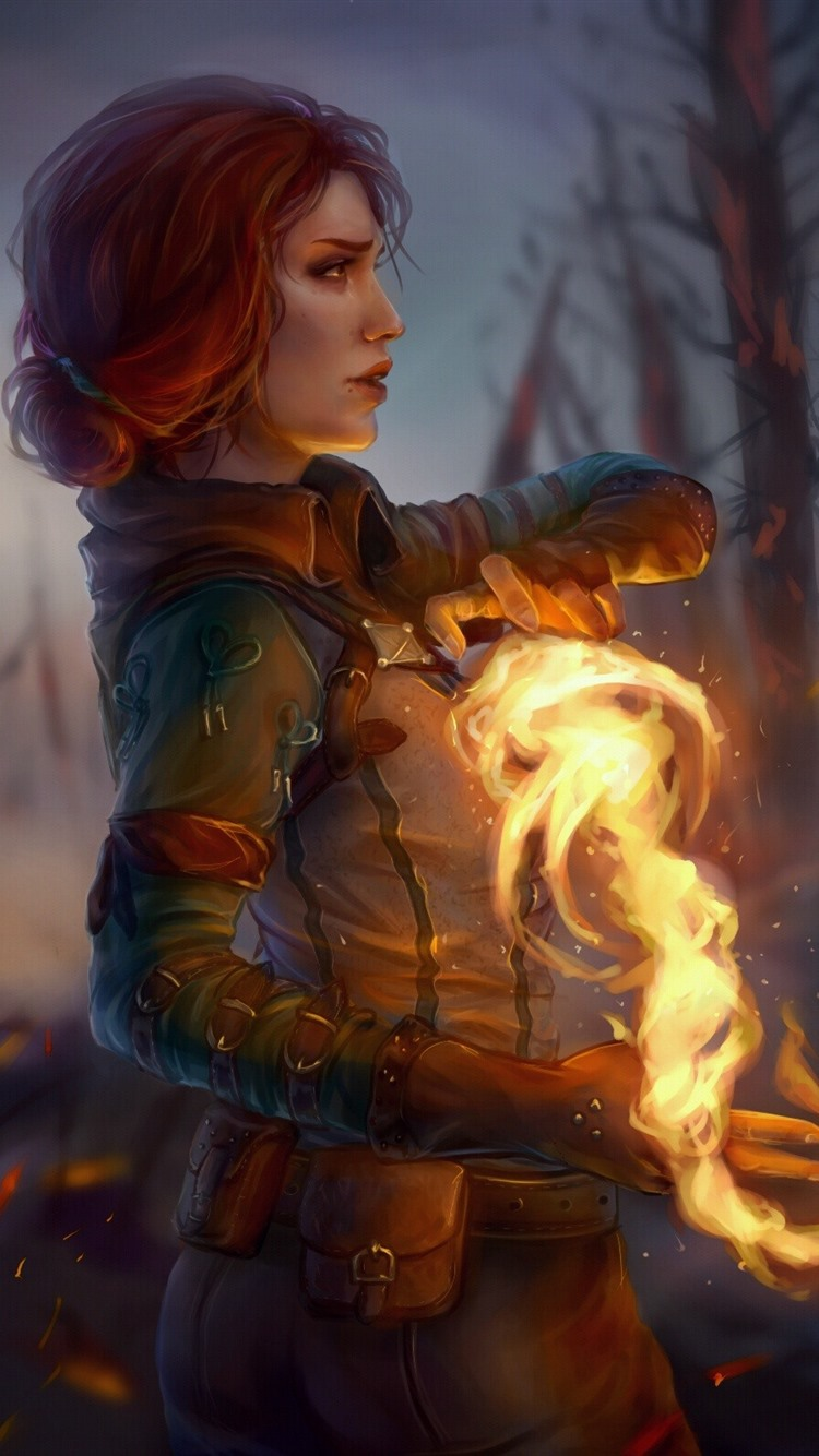The Witcher 3 Wild Hunt Girl Magic Fire 750x1334 Iphone