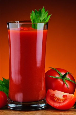 iPhone Wallpaper Tomato juice, drinks, glass cup, red