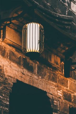 iPhone Wallpaper Two lanterns, lights, night, wall