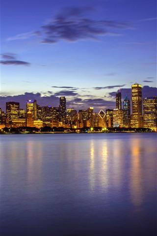 iPhone Wallpaper USA, Illinois, Chicago, skyscrapers, Lake Michigan, night, lights