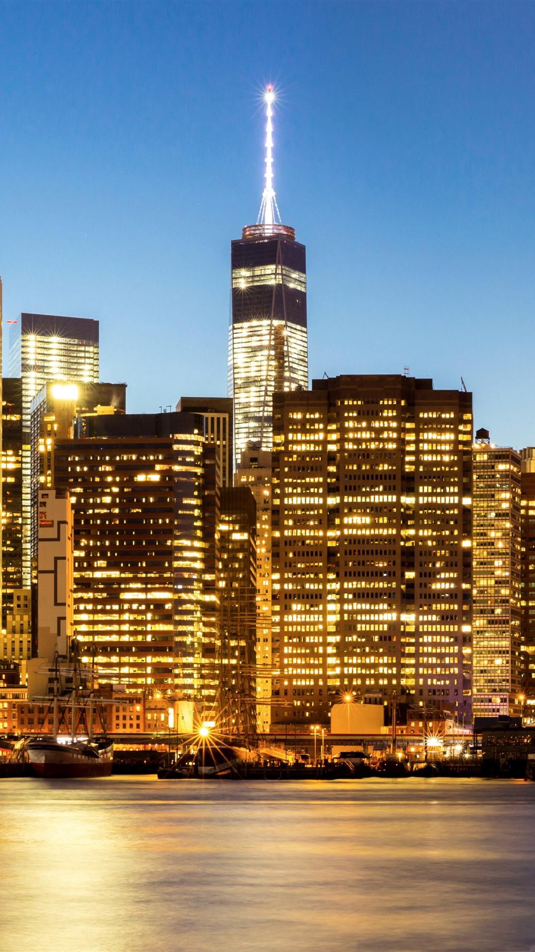 Обои тучи, небоскребы, manhattan, здания, skyline, new york city, освещение. Города foto 18