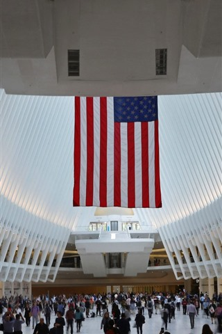 iPhone Wallpaper USA, New York, World Trade Center, flag, hall, people