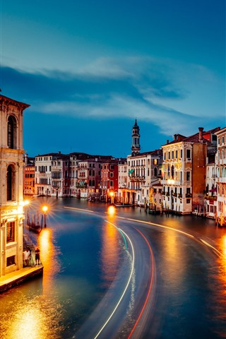 iPhone Wallpaper Venice, Grand Canal, beautiful night, houses, lights, night, Italy
