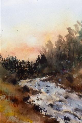 iPhone Wallpaper Watercolors, trees, river, nature