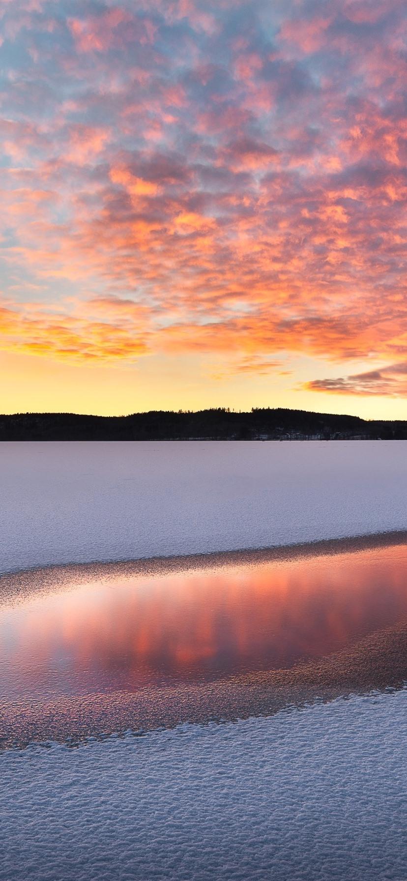 Winter See Schnee Wasser Sonnenuntergang 828x1792 Iphone