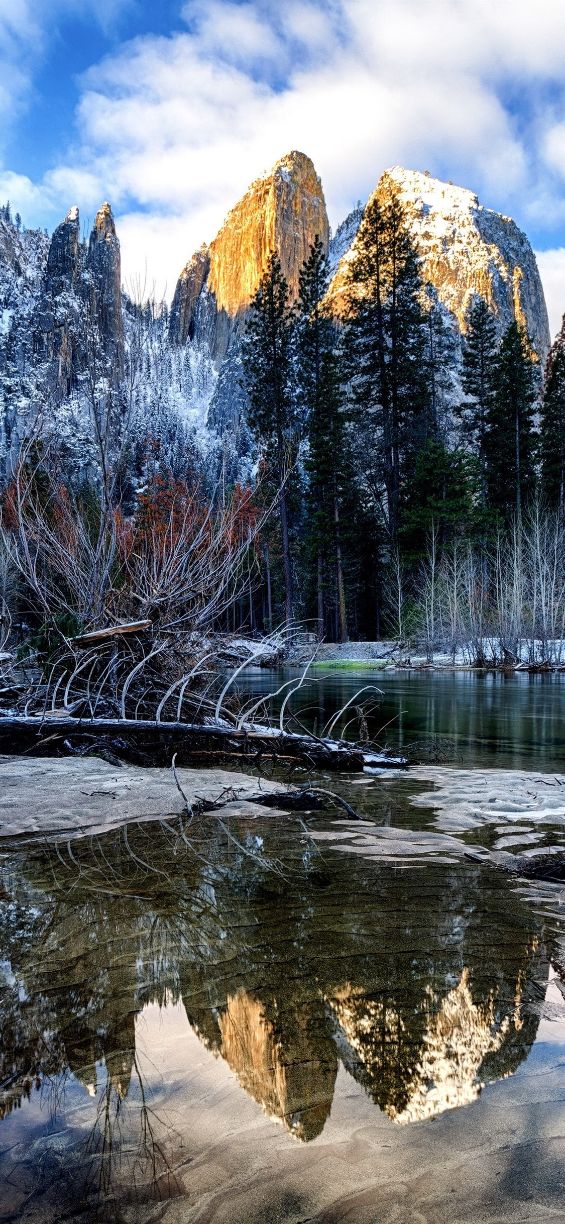 Winter River Trees Mountains Snow Yosemite National Park Usa 1125x2436 Iphone 11 Pro Xs X Wallpaper Background Picture Image