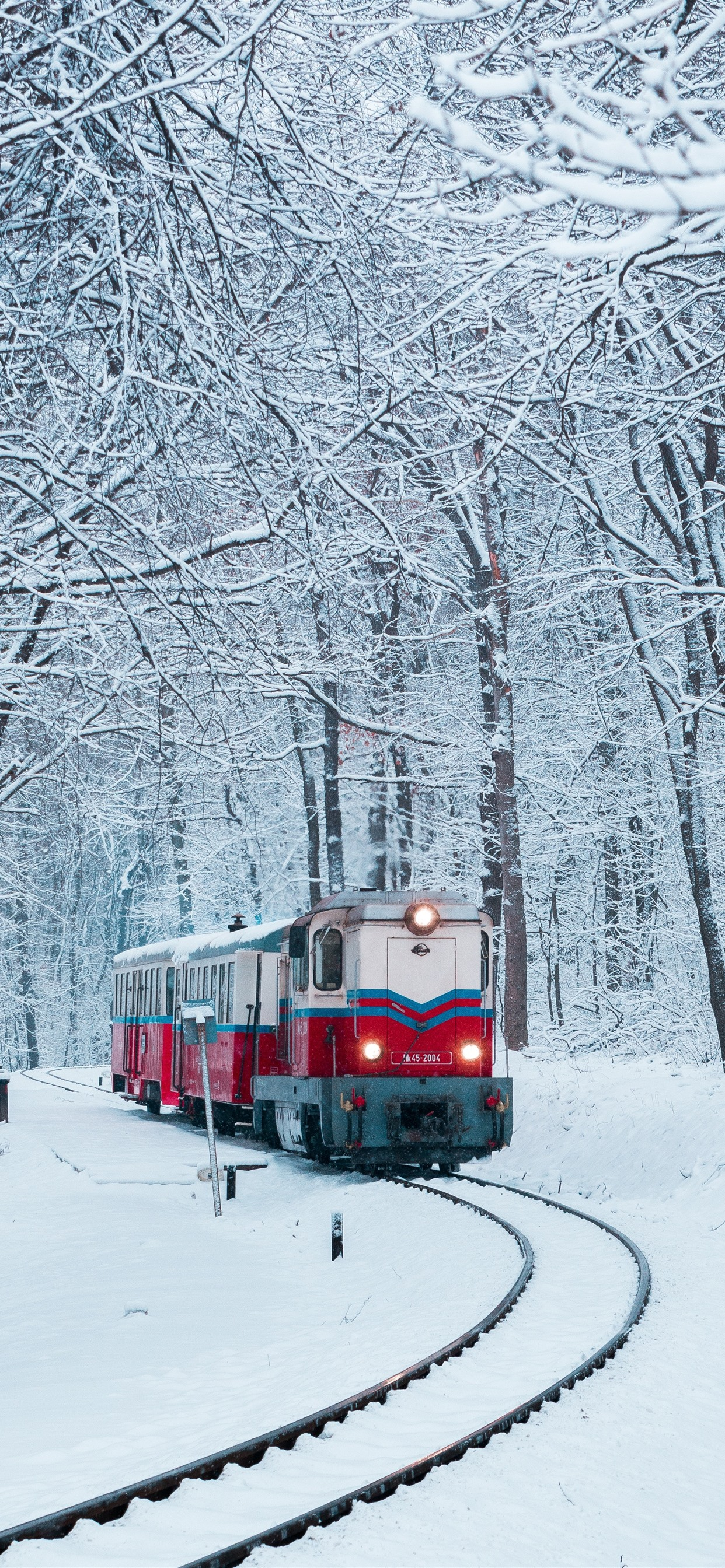 Winter, snow, train, railway, trees ...