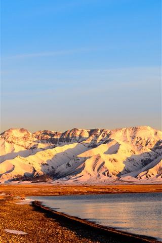 iPhone Wallpaper Xinjiang Sailimu Lake, mountain, snow, sunrise
