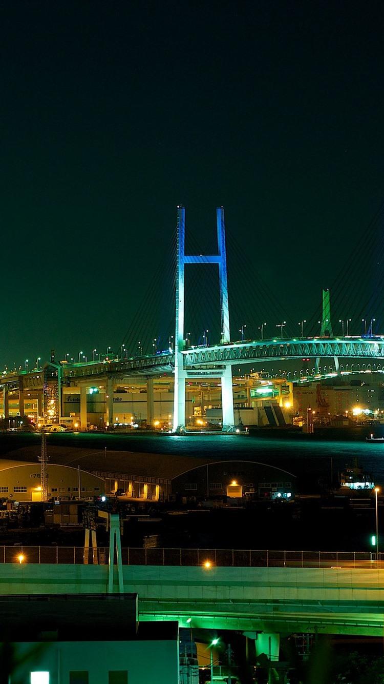 Yokohama Bay Bridge Japan City Night Lights 750x1334