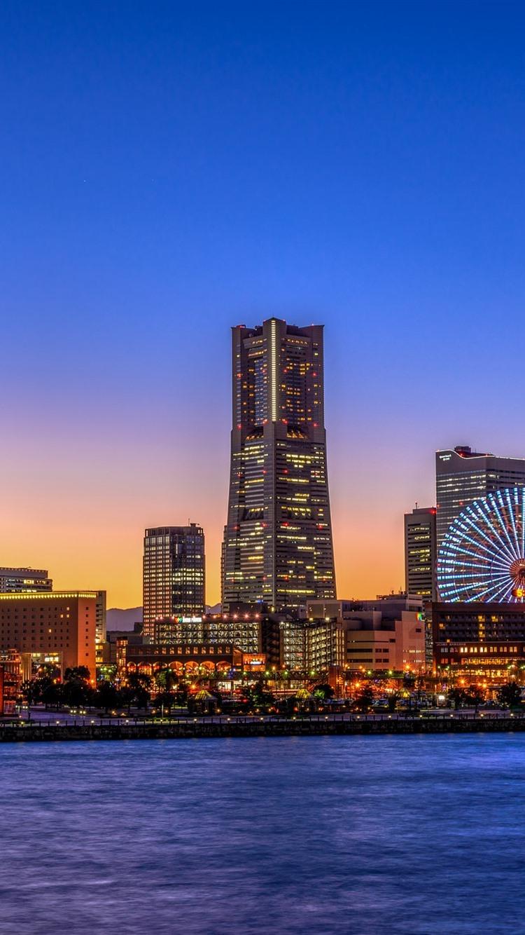 横滨 日本 城市 摩天大楼 摩天轮 灯 夜750x1334 Iphone 8 7 6 6s