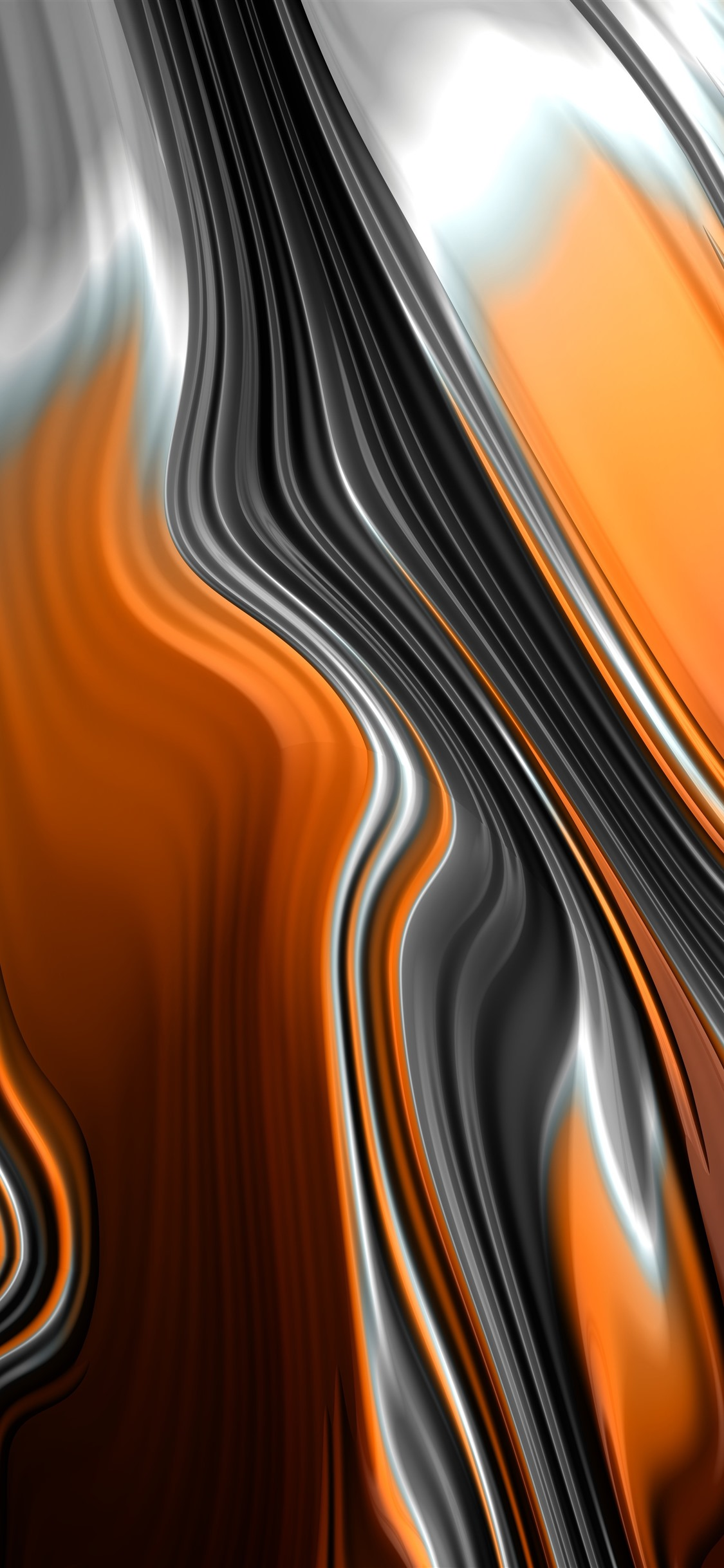 Abstract fractal graphics, orange and ...