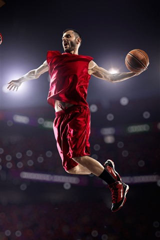 iPhone Wallpaper Athlete, basketball, male, jumping, sport