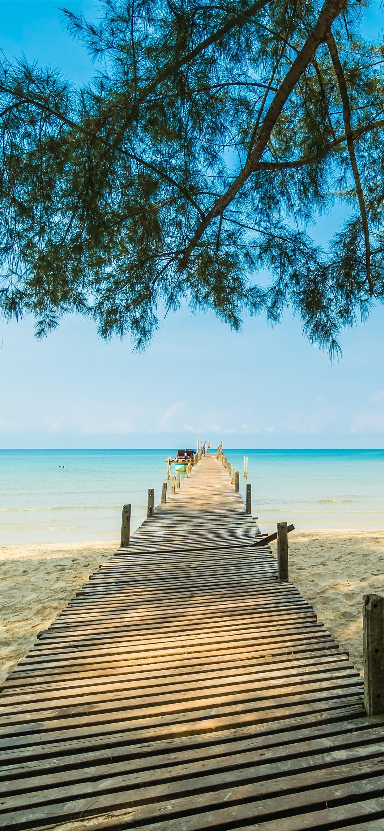 Beach Sands Pier Trees Sea Tropical 1242x2688 Iphone Xs