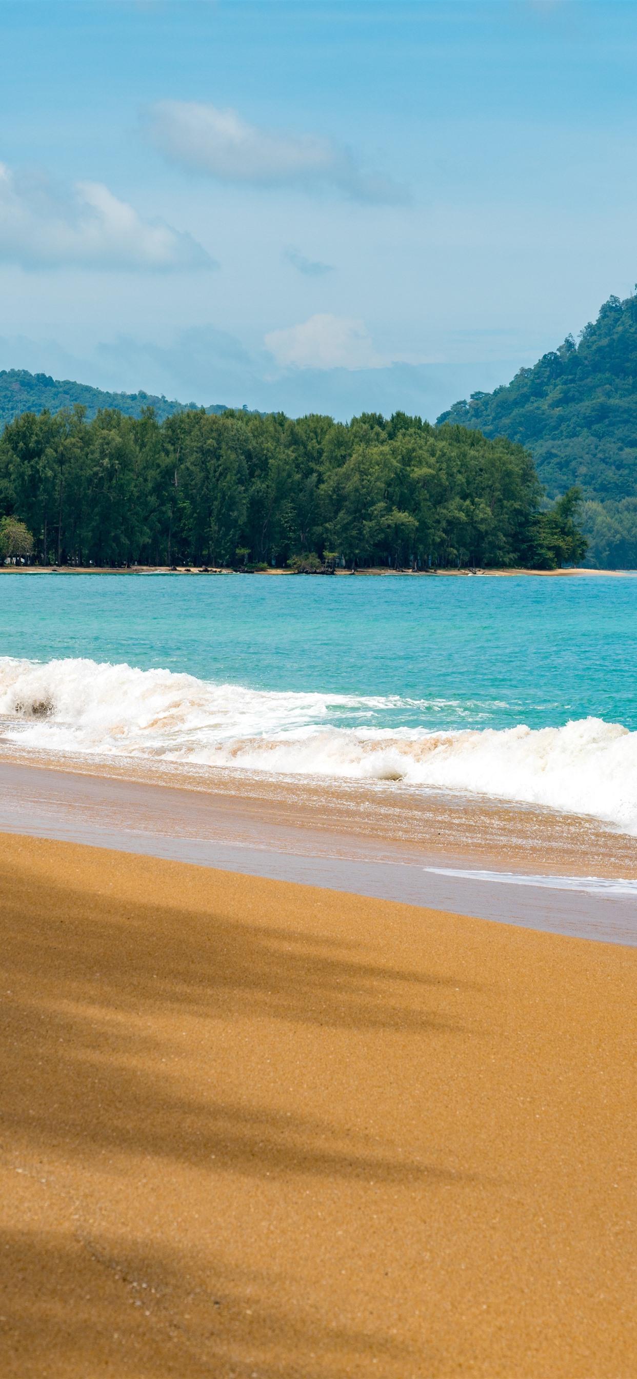 Beach Sea Waves Mountains Summer 1242x2688 Iphone Xs Max