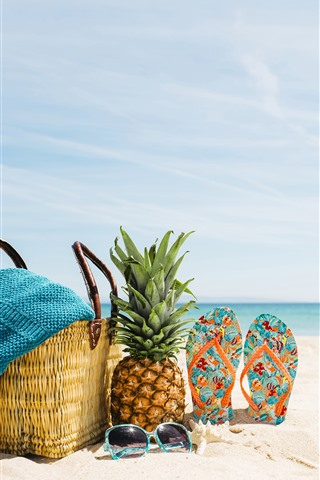 iPhone Wallpaper Beach, summer, sea, sunglasses, pineapple, flops, basket