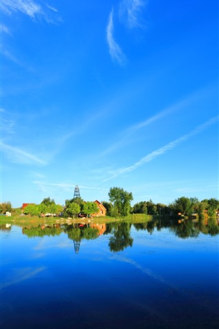 iPhone Wallpaper Beautiful park, lake, trees, water reflection, blue sky, China