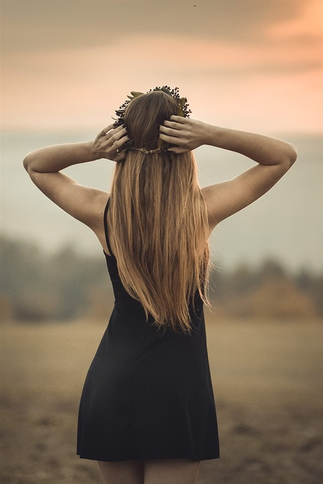 Wallpaper Blonde girl back view, black skirt, dusk, summer