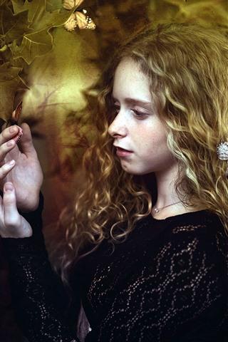 iPhone Wallpaper Blonde girl, curls, butterfly