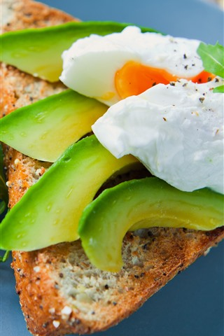 iPhone Wallpaper Breakfast, avocado, egg, bread
