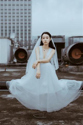 iPhone Wallpaper Bride, white skirt girl, roof