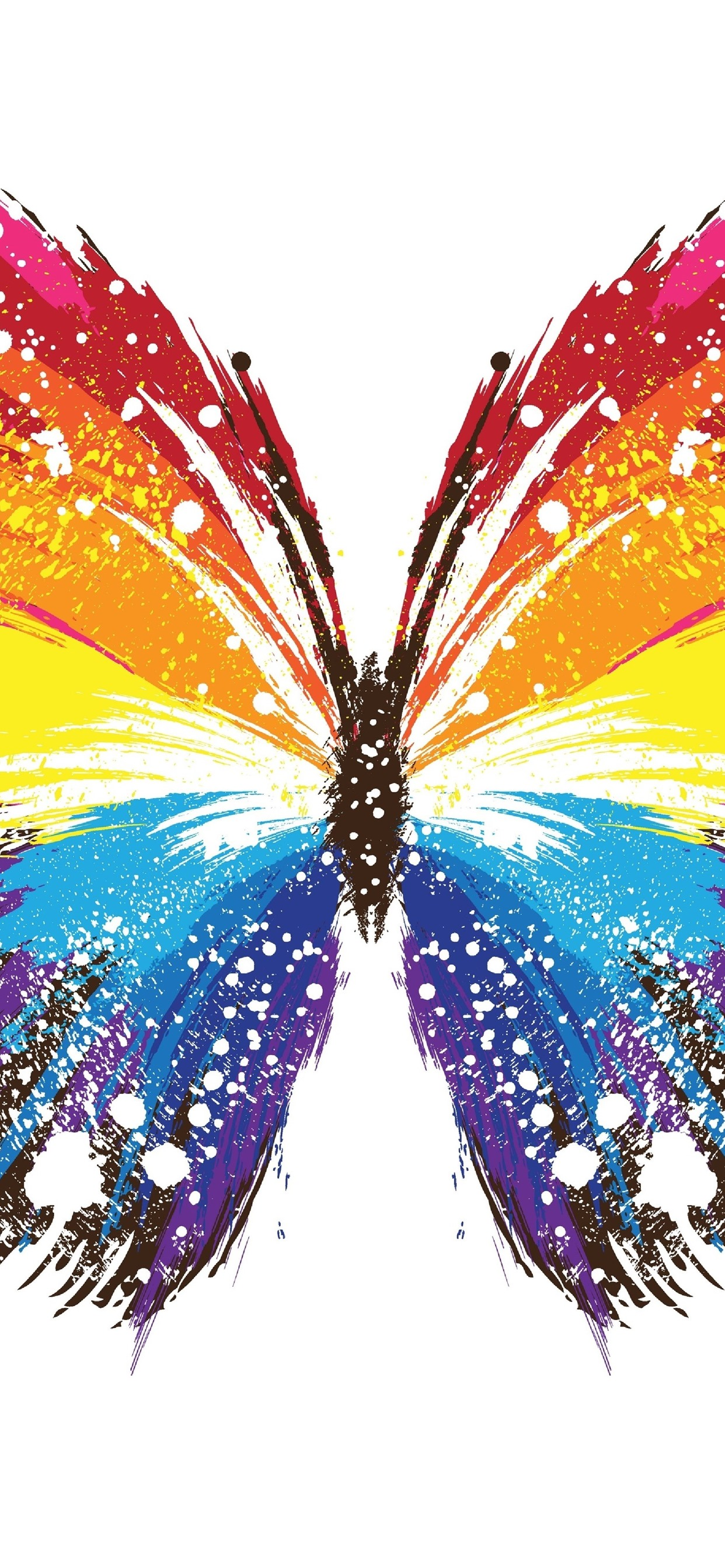 Butterfly Colorful Wings Abstract Style White Background 1242x2688 Iphone 11 Pro Xs Max Wallpaper Background Picture Image