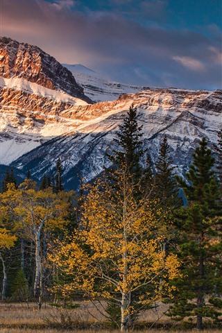 iPhone Wallpaper Canada, Albert, mountains, trees, clouds, autumn