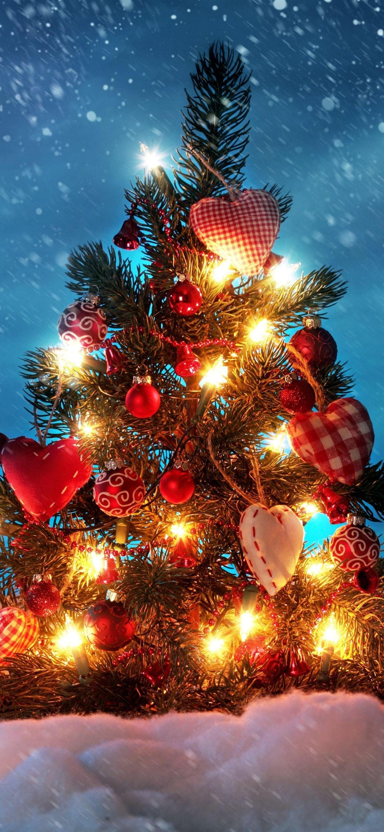 クリスマスツリー 装飾 ライト 雪 冬 1242x2688 Iphone 11 Pro Xs
