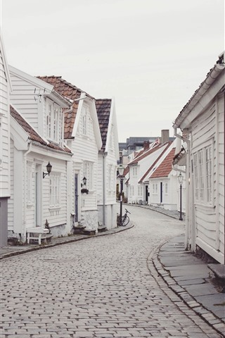 iPhone Wallpaper City, houses, street, white style