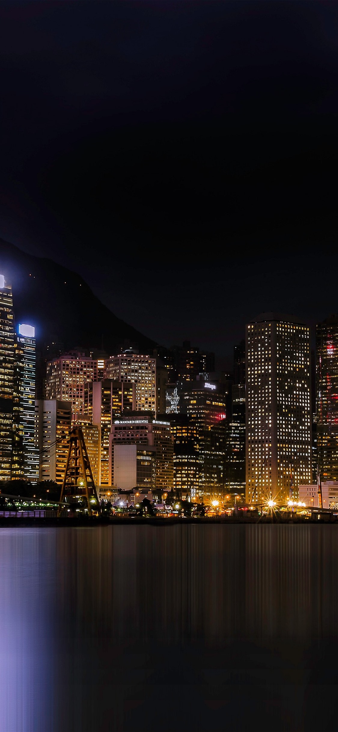 City Night Skyscrapers Lights Sea Hong Kong 1125x2436