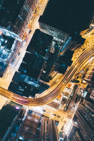 iPhone Wallpaper City, top view, roads, skyscrapers, lights, night, China