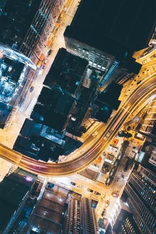 iPhone Обои Город, вид сверху, дороги, небоскребы, огни, ночь, Китай