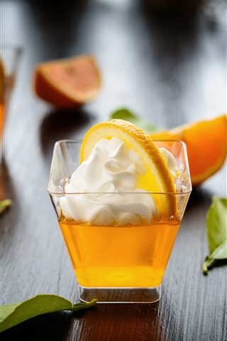 iPhone Wallpaper Cocktail, cream, orange slice