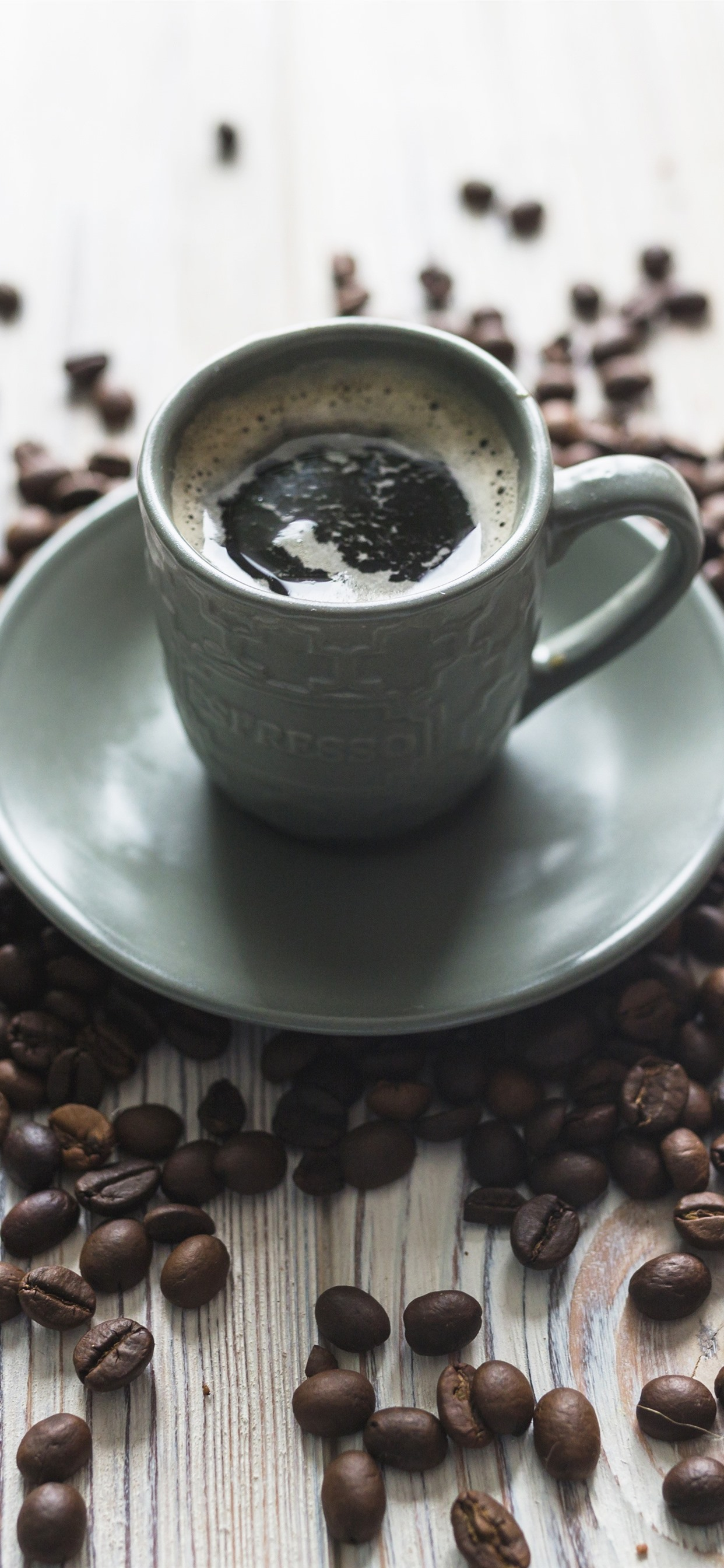 Coffee And Coffee Beans Cup Plates 1242x2688 Iphone Xs Max