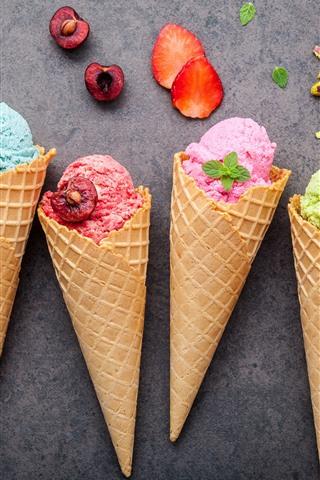 iPhone Wallpaper Colorful ice cream, fruit