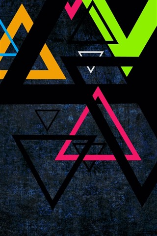 iPhone Wallpaper Colorful triangle, darkness