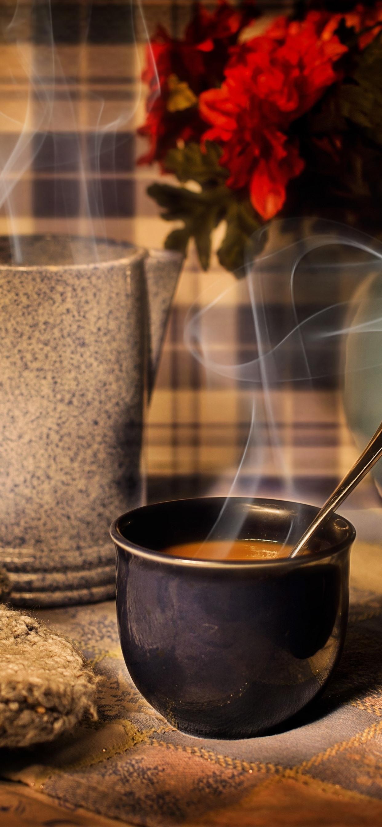 Cup Coffee Mug Flowers Steam 1242x2688 Iphone Xs Max