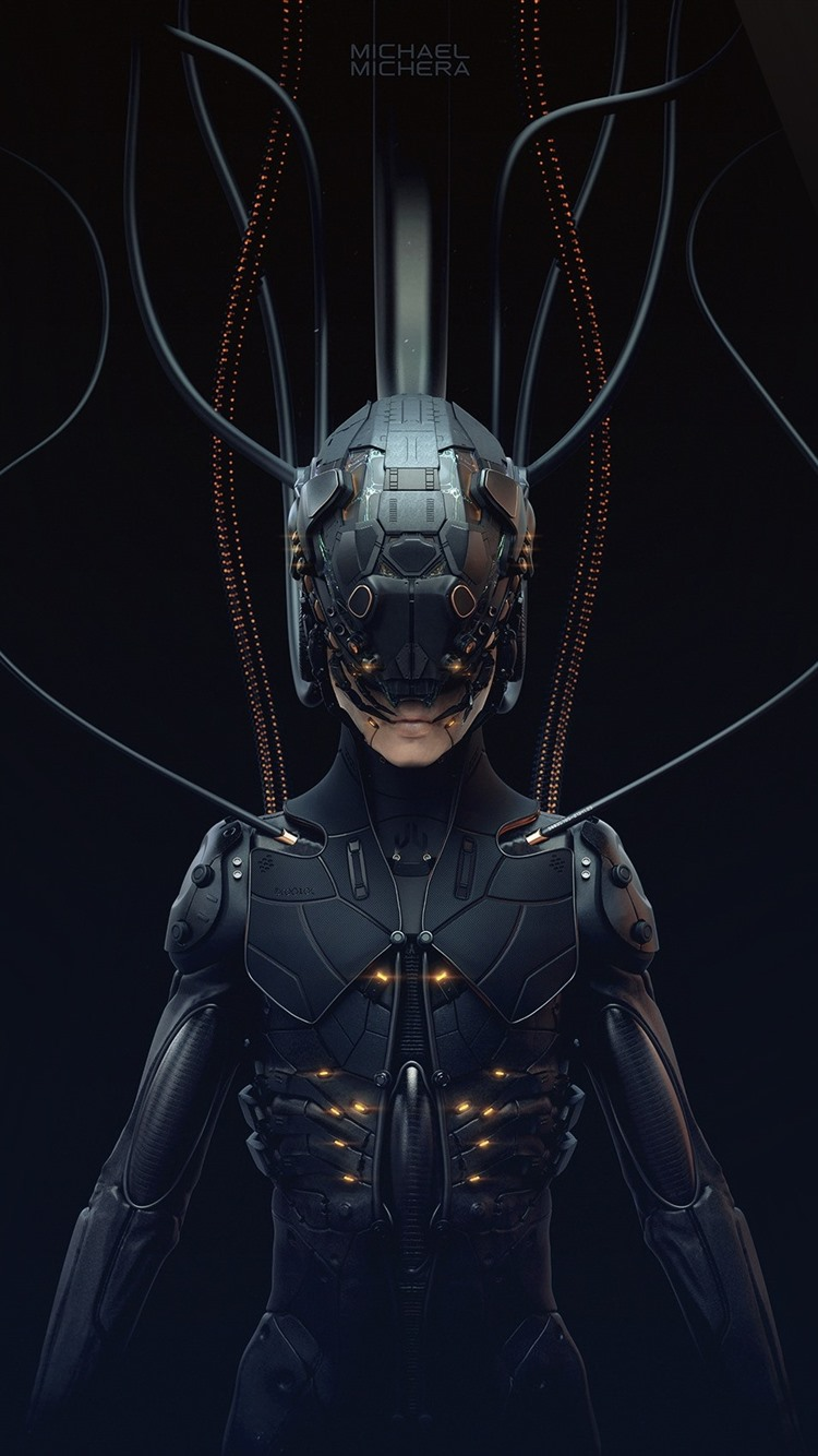 Cyberpunk 2077 Cyborg Black Background 750x1334 Iphone 8 7 6 6s Wallpaper Background Picture Image