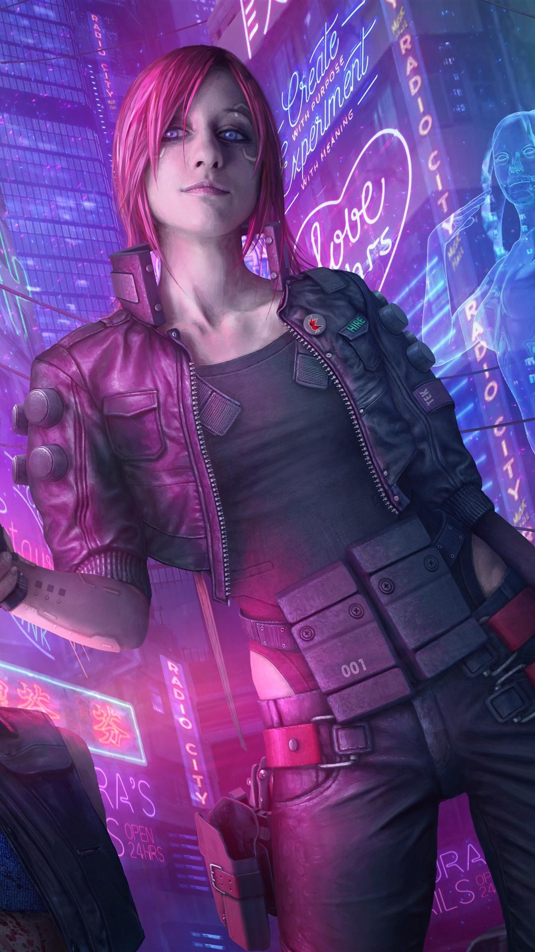 Wallpaper Cyberpunk 2077, pink hair girl, gun, city