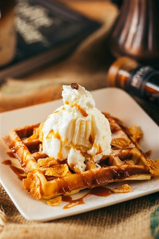 iPhone Wallpaper Dessert, waffle, cream, coffee