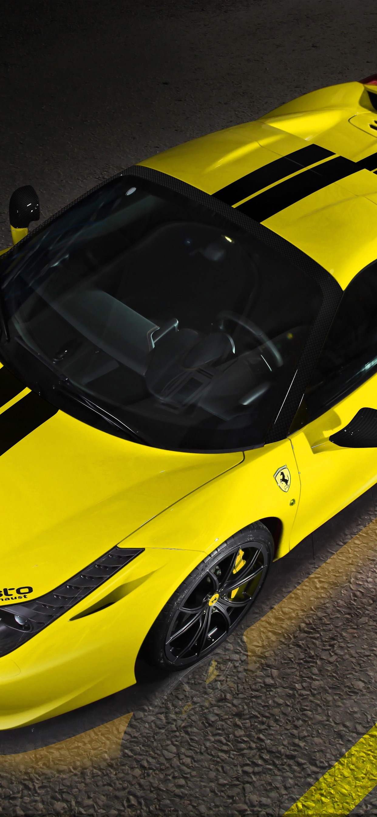 Ferrari 458 Yellow Supercar Top View 1242x2688 Iphone Xs Max