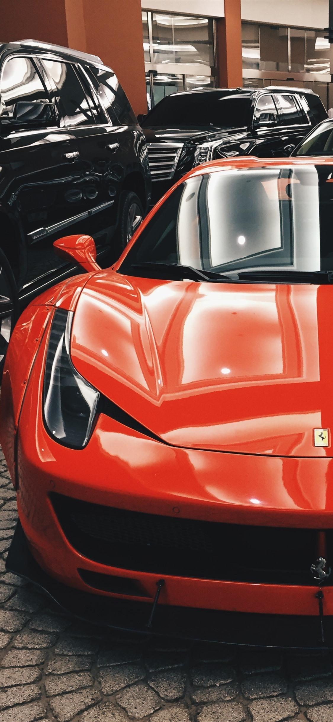 Ferrari Orange Supercar Front View 1125x2436 Iphone Xs X