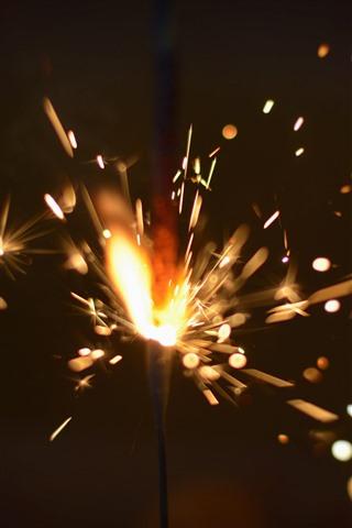 iPhone Wallpaper Fireworks, sparks, shine