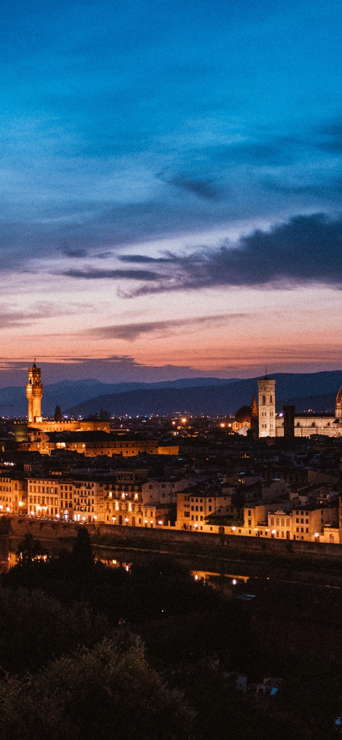 Florence Italy City At Night Houses Lights 1125x2436