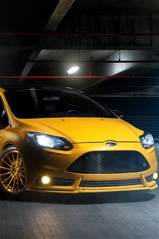 iPhone Wallpaper Ford yellow car front view, headlight, lights, parking