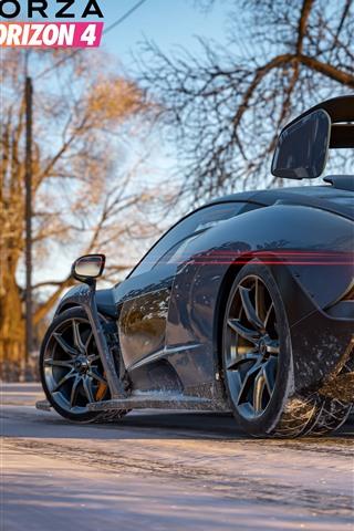 iPhone Wallpaper Forza Horizon 4, McLaren supercar rear view