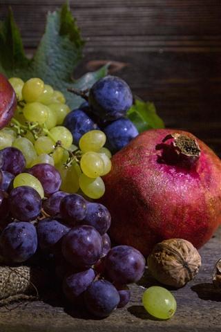 iPhone Wallpaper Fruit, still life, pomegranate, grapes, plums