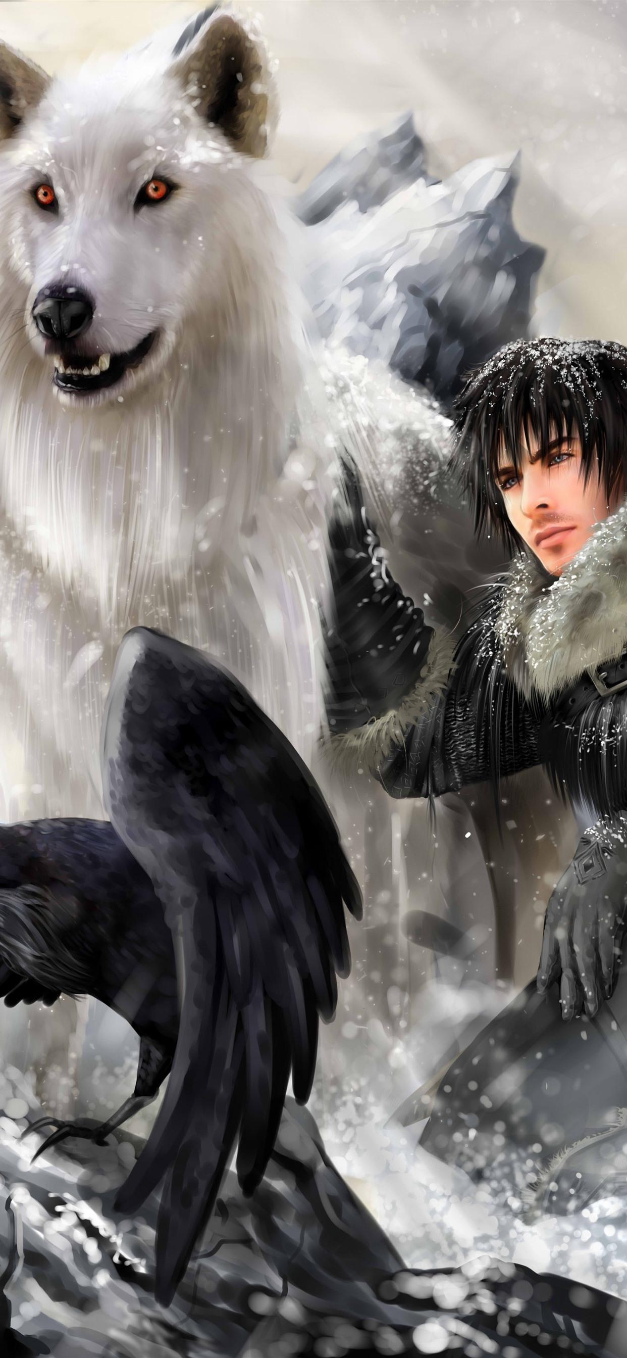 Game Of Thrones Wolf Man Bird Art Picture 1242x2688 Iphone 11