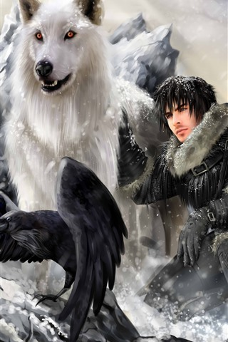 iPhone Wallpaper Game of Thrones, wolf, man, bird, art picture